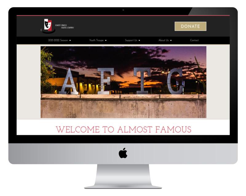 Almost Famous Theatre Company desktop website