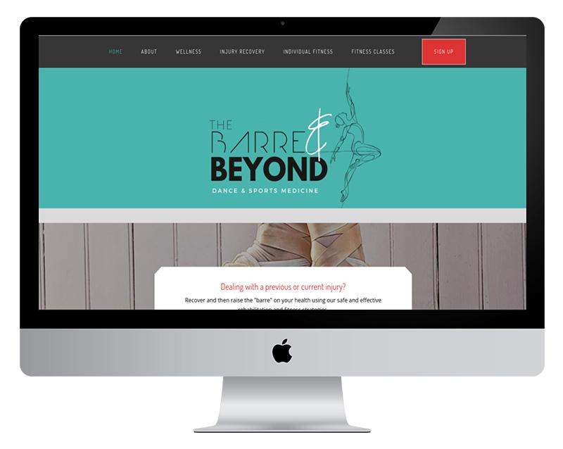 The Barre and Beyond desktop website